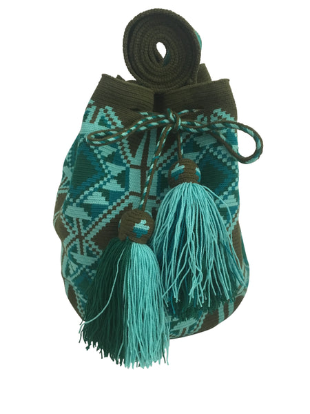 Image of Wayuu mochila purse, drawstring crossbody bag with tassels and cloth strap; jungle green base with teal and light blue geometric design