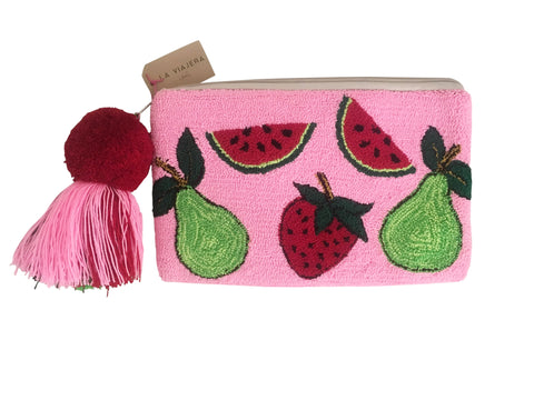 Image view Close up image of Wayuu small clutch purse with pom pom tassel and zipper; rectangular shape with pink base and fruit designs
