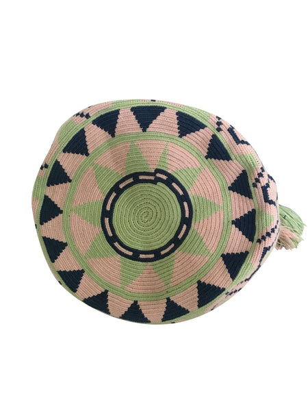 Image of bottom of una hebra Wayuu mochila purse, drawstring crossbody bag with tassels - base color light green with navy and light pink sextagon design