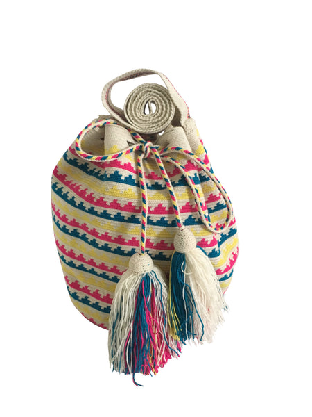 Image of una hebra Wayuu mochila purse, drawstring crossbody bag with tassels - base color white with yellow, blue and bright pink small wave design