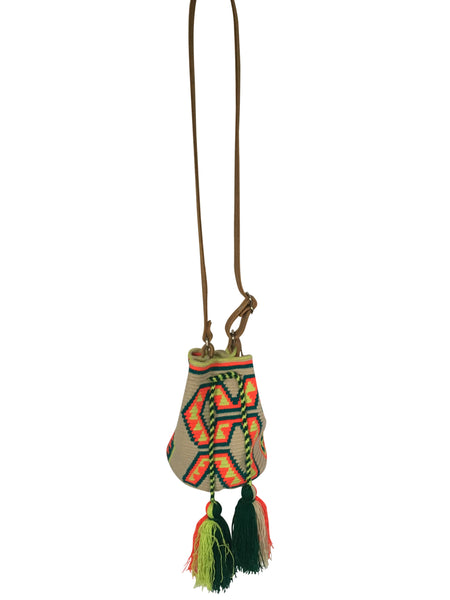Image of Wayuu mini mochila bucket bag purse with adjustable brown leather strap, drawstring and two tassles; bag is neutral base dark green, bright orange and bright yellow design