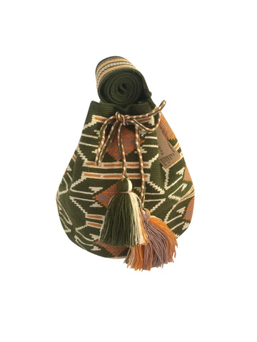 Image of one strand Wayuu mochila purse, drawstring crossbody bag with tassels - base color jungle green with light tan, burnt orange and grey design
