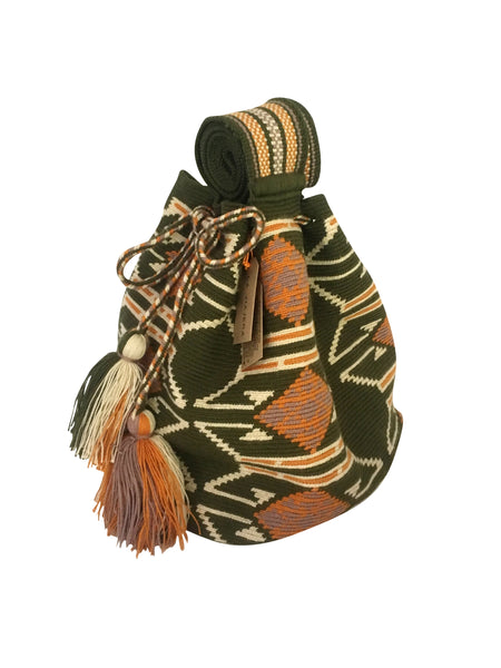 side angle image of one strand Wayuu mochila purse, drawstring crossbody bag with tassels - base color jungle green with light tan, burnt orange and grey design