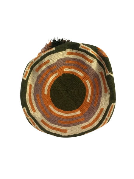 Image of bottom of one strand Wayuu mochila purse, drawstring crossbody bag with tassels - base color jungle green with light tan, burnt orange and grey design