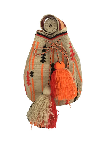 Image of two strand Wayuu mochila purse, drawstring crossbody bag with tassels - base color light tan with black, orange and red arrow shaped design