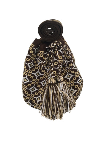 Image of una hebra Wayuu mochila purse, drawstring crossbody bag with tassels - base color chocolate brown with tan, white and black design