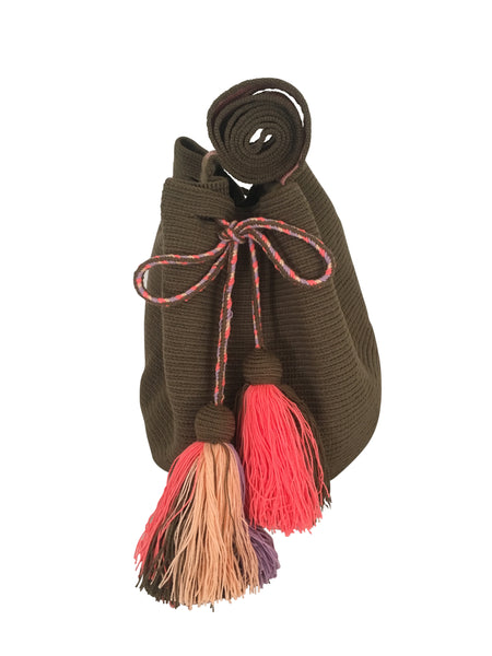Image of dos hebra Wayuu mochila purse, drawstring crossbody bag with tassels - solid jungle green mochila with base color design in peach, pink and purple