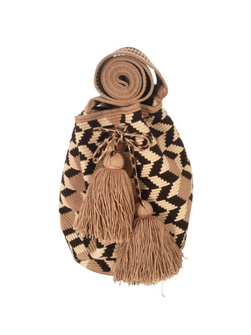 Image of Wayuu mochila purse, drawstring crossbody bag with tassels and cloth strap; tan base with light brown, chocolate brown design