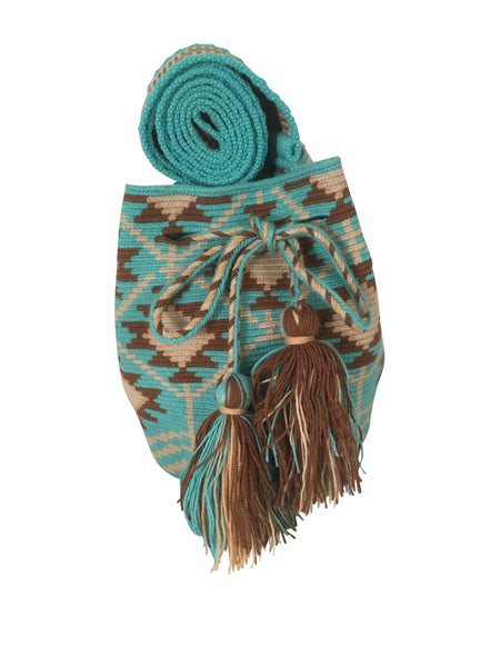 Image of una hebra Wayuu mochila purse, drawstring crossbody bag with tassels - bag is turquoise base with shades of brown design