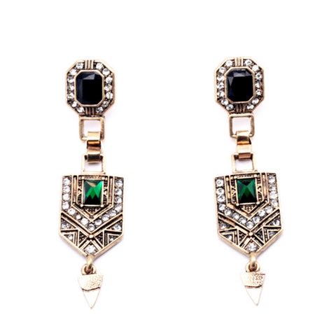 Aztec Green Drop Earrings
