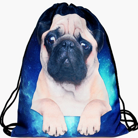 Galaxy Pug Drawstring Bag