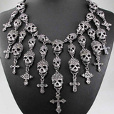 Crystal Skull and Cross Necklace