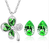 Lucky Clover Crystal Necklace and Earrings Set