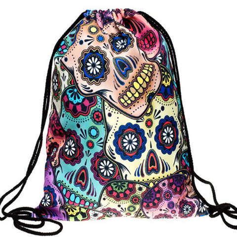 Candy Skull Drawstring Bag