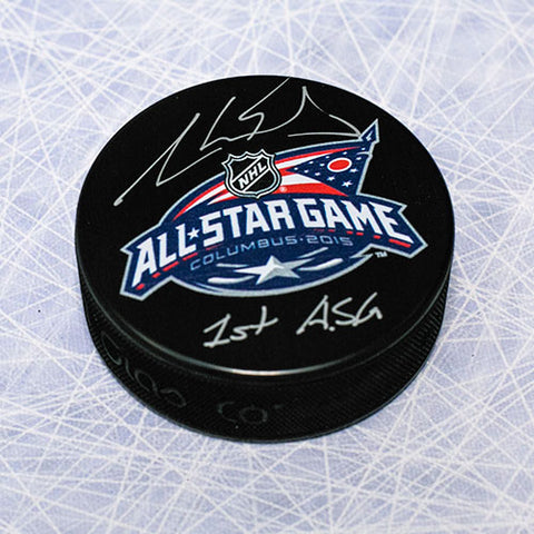 AARON EKBLAD 2015 NHL ALL STAR GAME AUTOGRAPHED HOCKEY PUCK WITH 1ST ASG NOTE