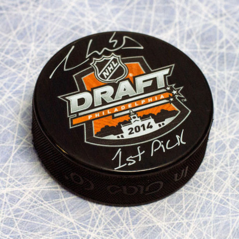 AARON EKBLAD 2014 NHL DRAFT DAY PUCK AUTOGRAPHED WITH 1ST PICK INSCRIPTION