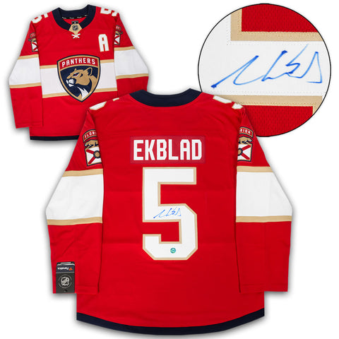AARON EKBLAD FLORIDA PANTHERS AUTOGRAPHED RED FANATICS REPLICA HOCKEY JERSEY
