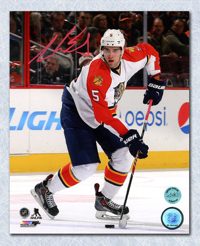 AARON EKBLAD FLORIDA PANTHERS AUTOGRAPHED ROAD ACTION 8X10 PHOTO