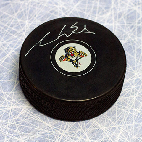 AARON EKBLAD FLORIDA PANTHERS AUTOGRAPHED HOCKEY PUCK