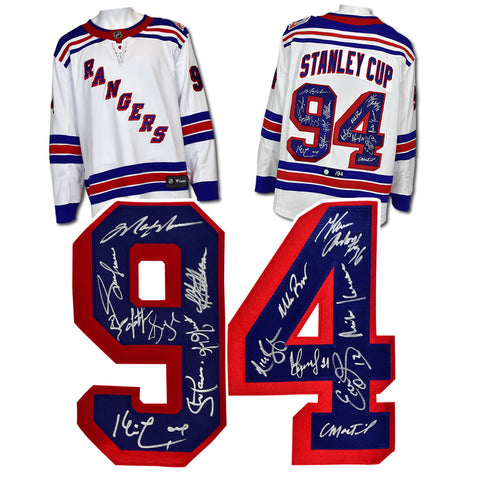 1994 NEW YORK RANGERS 15 PLAYER TEAM SIGNED STANLEY CUP HOCKEY JERSEY #/94