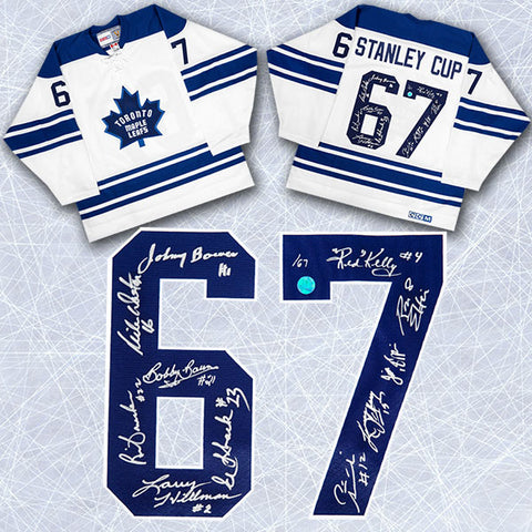 1967 TORONTO MAPLE LEAFS TEAM SIGNED STANLEY CUP JERSEY LE #/67 - 11 AUTOGRAPHS