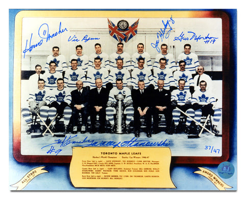 1947 TORONTO MAPLE LEAFS STANLEY CUP TEAM SIGNED 8X10 PHOTO: 6 AUTOGRAPHS #/47