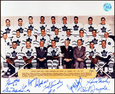 1949 TORONTO MAPLE LEAFS STANLEY CUP TEAM SIGNED 8X10 PHOTO: 8 AUTOGRAPHS #/49