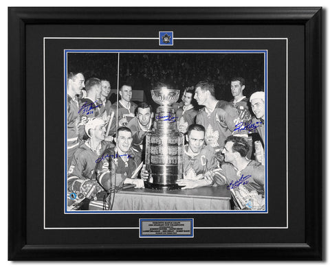 1964 TORONTO MAPLE LEAFS STANLEY CUP THREE-PEAT 5 PLAYER SIGNED 31X25 FRAME