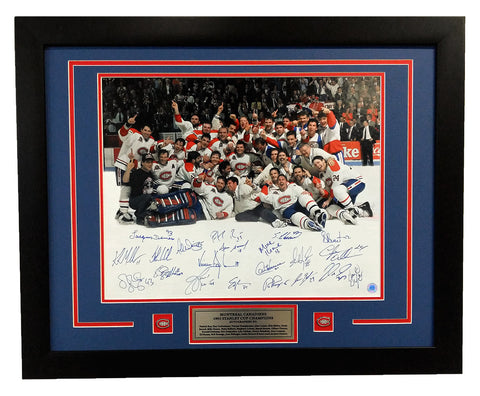 1993 MONTREAL CANADIENS 21 PLAYER TEAM SIGNED STANLEY CUP CHAMPIONS 26X32 FRAME