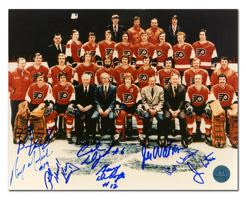 1973-74 PHILADELPHIA FLYERS STANLEY CUP TEAM 8 PLAYER AUTOGRAPHED 8X10 PHOTO