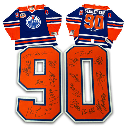 1990 OILERS TEAM SIGNED STANLEY CUP AUTHENTIC HOCKEY JERSEY - 16 AUTOGRAPHS
