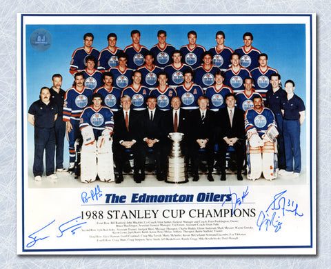 1987-88 EDMONTON OILERS TEAM SIGNED STANLEY CUP 8X10 PHOTO 5 AUTOGRAPHS