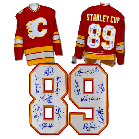 1989 CALGARY FLAMES 13 PLAYER TEAM SIGNED STANLEY CUP ADIDAS HOCKEY JERSEY #/89