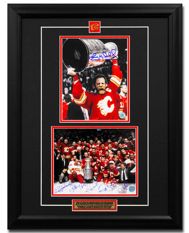1989 CALGARY FLAMES STANLEY CUP CHAMPION 7 PLAYER SIGNED 22X26 COLLAGE FRAME
