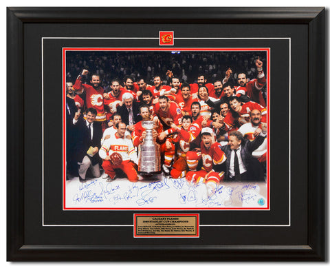 1989 CALGARY FLAMES STANLEY CUP CHAMPIONS 16 PLAYER TEAM SIGNED 25X31 FRAME