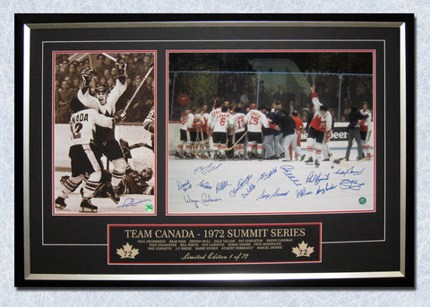 1972 SUMMIT SERIES TEAM CANADA VICTORY 40X28 FRAME #/72 - 16 AUTOGRAPHS