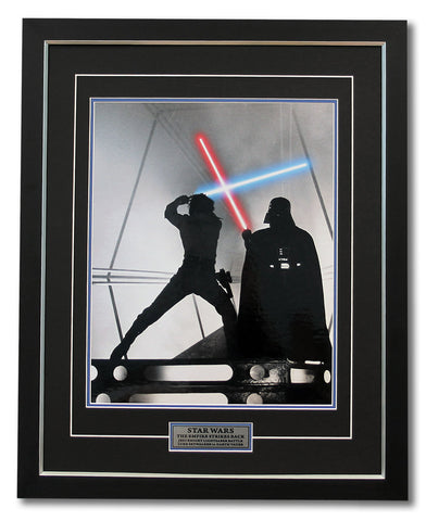 STAR WARS JEDI LIGHTSABER BATTLE DARTH VADER VS LUKE SKYWALKER 31X25 WOOD FRAME