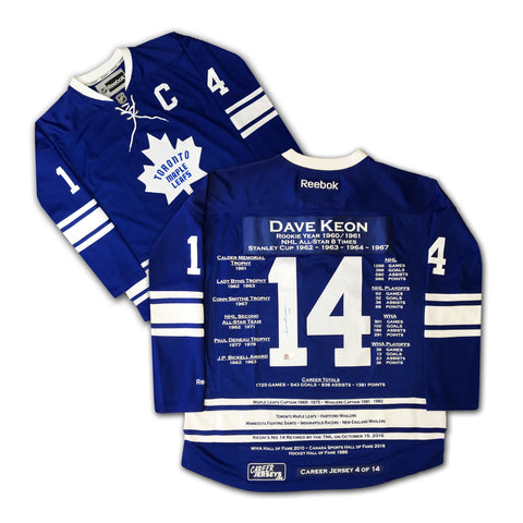 DAVE KEON CAREER JERSEY AUTOGRAPHED - LTD ED 14 - TORONTO MAPLE LEAFS