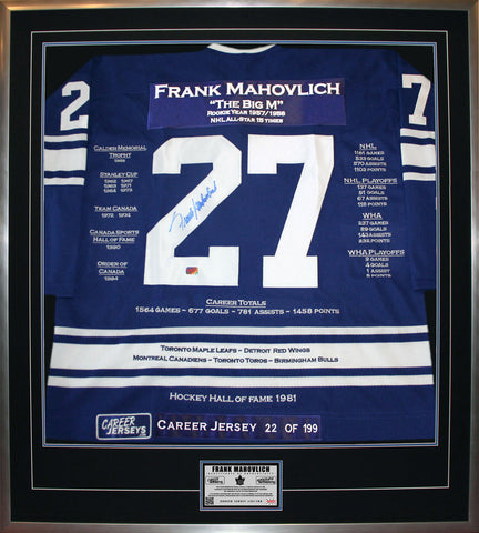 FRANK MAHOVLICH FRAMED CAREER JERSEY SIGNED -LTD ED 199 - TORONTO MAPLE LEAFS