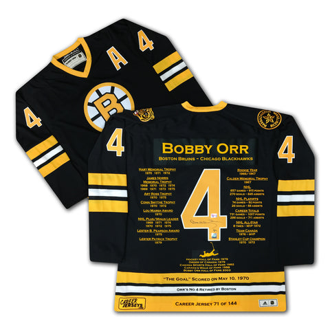 BOBBY ORR CAREER JERSEY AUTOGRAPHED AUTOGRAPHED - LTD ED 144 - BOSTON BRUINS