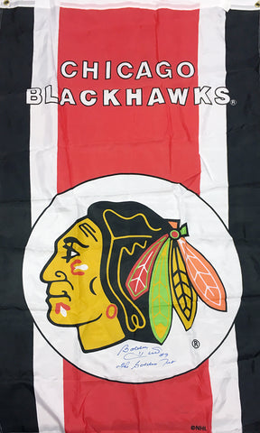 AUTOGRAPHED BOBBY HULL FLAG - CHICAGO BLACKHAWKS
