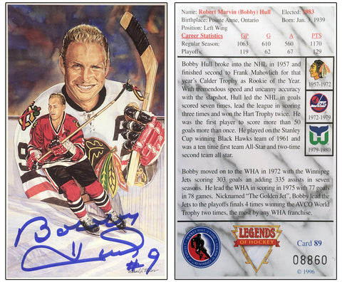 BOBBY HULL SIGNED LEGENDS OF HOCKEY CARD LTD ED - CHICAGO BLACKHAWKS