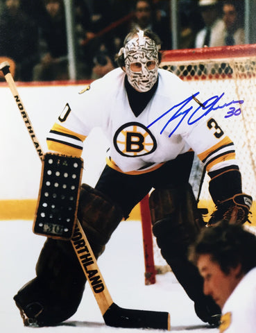 GERRY CHEEVERS AUTOGRAPHED 8X10 PHOTOGRAPH - BOSTON BRUINS (WHITE)