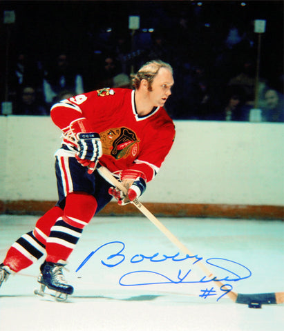 BOBBY HULL AUTOGRAPHED 8X10 PHOTOGRAPH - CHICAGO BLACKHAWKS (ACTION)