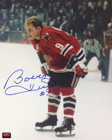 BOBBY HULL AUTOGRAPHED 8X10 PHOTOGRAPH - CHICAGO BLACKHAWKS (RED)