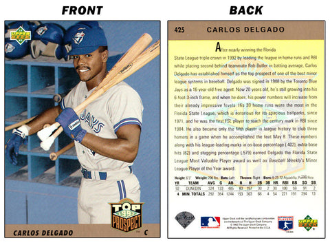 CARLOS DELGADO UPPER DECK ROOKIE CARD (1993) - TORONTO BLUE JAYS