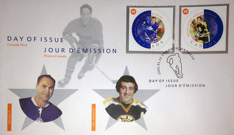 DAY OF ISSUE STAMPS 2002 RED KELLY AND PHIL ESPOSITO