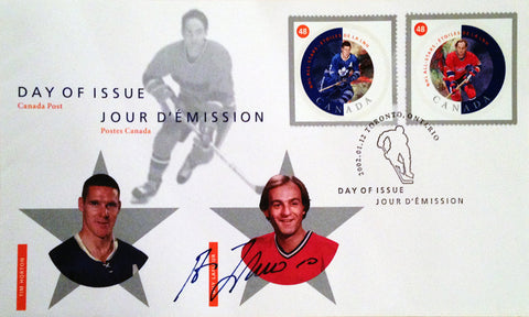 DAY OF ISSUE STAMPS HORTON & LAFLEUR - SIGNED BY GUY LAFLEUR