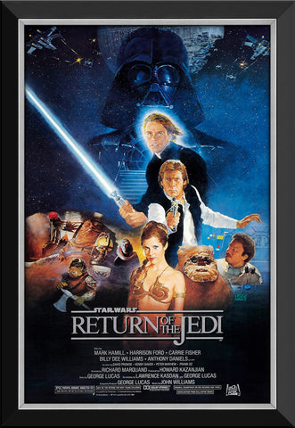 STAR WARS EP VI RETURN OF THE JEDI - VINTAGE MOVIE POSTER FRAMED ART PRINT