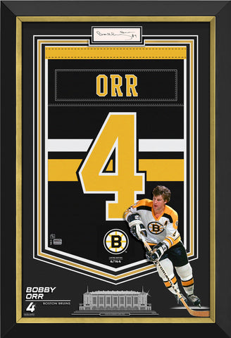 BOBBY ORR FRAMED ARENA BANNER LIMITED EDITION 4/144 BRUINS, CUT SIGNATURE